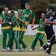 The South African team give New Zealand batter Suzie Bates a verbal send off after she was dismissed first ball by Charlize van der Westhuizen during the South Africa  V New Zealand group A match at Bradman Oval in the ICC Women's World Cup Cricket Tournament, in Bowral, Australia on March 12, 2009. New Zealand had the last laugh winning the match by 199 runs after South Africa were dismissed for 51 runs chasing New Zealand's 250. Photo Tim Clayton