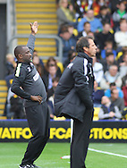 Picture by David Horn/Focus Images Ltd +44 7545 970036<br /> 14/09/2013<br /> Gianfranco Zola Manager of Watford (right) and Chris Powell Manager of Charlton Athletic (left) during the Sky Bet Championship match at Vicarage Road, Watford.