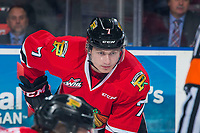 KELOWNA, BC - MARCH 02:  Michal Kvasnica #7 of the Portland Winterhawks lines up against the Kelowna Rockets  at Prospera Place on March 2, 2019 in Kelowna, Canada. (Photo by Marissa Baecker/Getty Images)