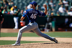 OAKLAND, CA - JULY 28:  Taylor Guerrieri #46 of the Texas Rangers pitches against the Oakland Athletics during the eighth inning at the RingCentral Coliseum on July 28, 2019 in Oakland, California. The Oakland Athletics defeated the Texas Rangers 6-5. (Photo by Jason O. Watson/Getty Images) *** Local Caption *** Taylor Guerrieri