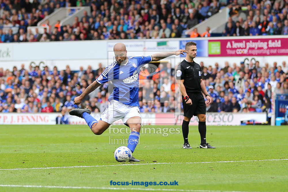 David McGoldrick of Ipswich Town shoots at goal from a free-kick during the Sky Bet Championship match against Blackburn Rovers at Portman Road, Ipswich<br /> Picture by Richard Calver/Focus Images Ltd +447792 981244<br /> 18/10/2014