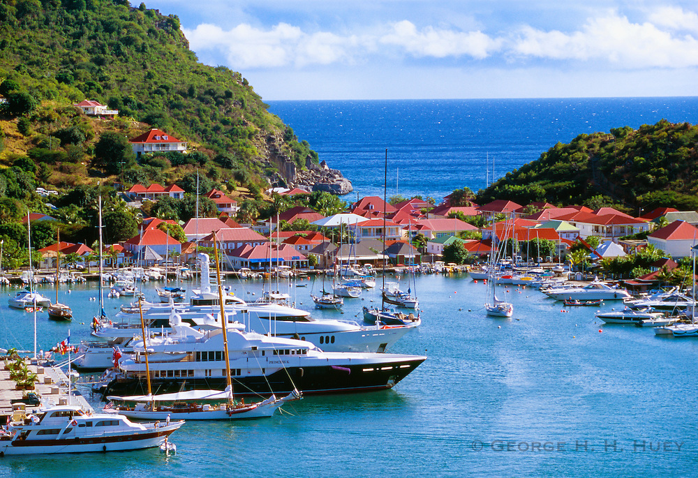 356208-1005 ~ Copyright:  George H. H. Huey ~ Boats in harbor at port of Gustavia, St. Barts.  Leeward Islands, Caribbean.