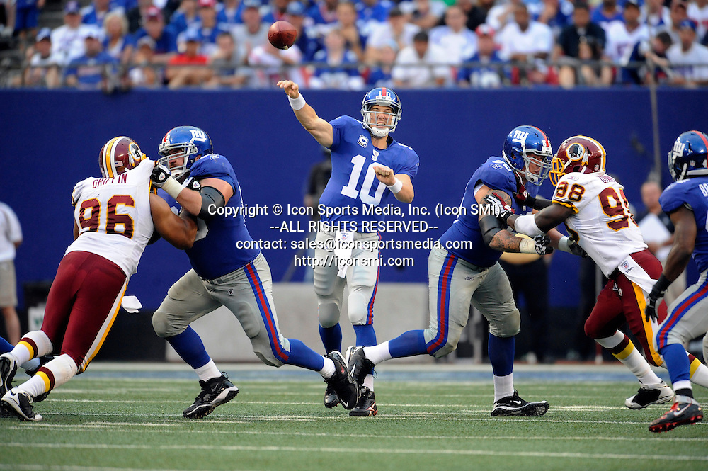 13 September 2009: New York Giants quarterback Eli Manning (10) during the Giants 23-17 win over the Redskins at Giants Stadium in East Rutherford, NJ