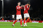 Patrick Roberts (19) of Middlesbrough applauds the travelling fans at full time during the EFL Sky Bet Championship match between Fulham and Middlesbrough at Craven Cottage, London, England on 17 January 2020.