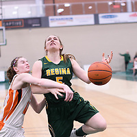 4th year guard Caitlin Zacharias (5) of the Regina Cougars during the 5th year night on February  11 at Centre for Kinesiology, Health and Sport. Credit: Arthur Ward/Arthur Images