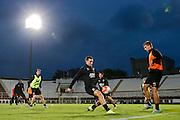 BOEKAREST - 19-08-15, Europa League, Astra GiurGiu - AZ, training, Stadionul Giulesti, AZ speler Vincent Janssen (m), AZ speler Markus Henriksen (r).