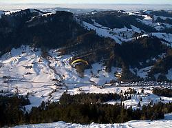 SWITZERLAND MARBACH EGG 5JAN11 - Paraglider takes off from Marbach Egg during winter skiing season...jre/Photo by Jiri Rezac..© Jiri Rezac 2011