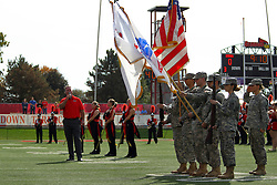 "29 October 2016:  James Cornelison sings ""The Star-Spangled Banner"" and ""O Canada"" at the beginning of home games for the Chicago Blackhawks takes the 40 yard line and performs the national anthem before the NCAA FCS Football game between South Dakota State Jackrabbits and Illinois State Redbirds at Hancock Stadium in Normal IL (Photo by Alan Look)"