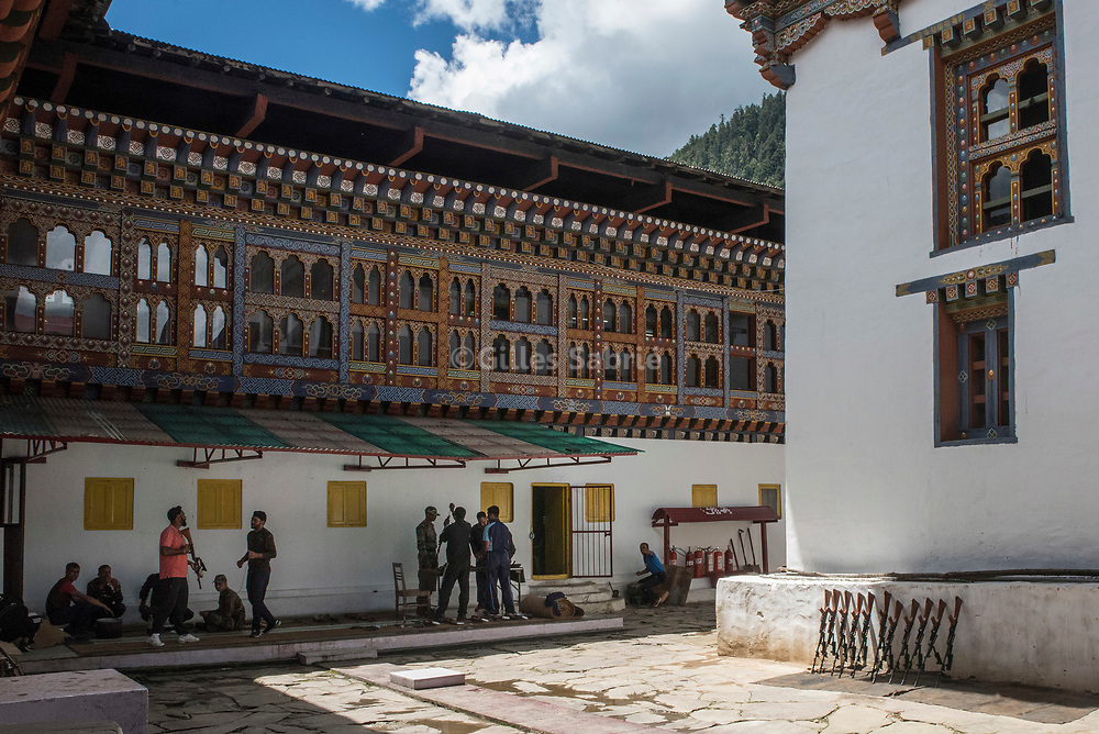 For a story by Steven Lee Myers, Bhutan<br /> Haa, Bhutan, August 3rd, 2017<br /> Indian soldiers cleaning their rifles at Haa dzong (fortress) which they use as their headquarters for the region, close to a disputed border between Bhutan and China. The dispute escalated recently leading to a showdown between India and China. The use of the Dzong, a historical monument, by the Indian army, has created some resentment in Bhutan. <br /> Gilles Sabri&eacute; pour The New York Times