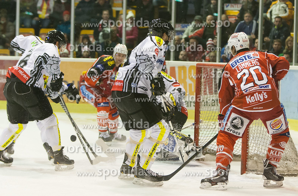 08.12.2013, Stadthalle, Klagenfurt, AUT, EBEL, KAC vs die Dornbirner, 49. Runde, im Bild Jonathan D'Aversa (Dornbirner Bulldogs, #6), Colton Fretter (Kac #17), Adam Dennis (Dornbirner Bulldogs, #44), John Lammers (Kac, #20) // during the Erste Bank Icehockey League 49th Round match betweeen EC KAC and die Dornbirner at the City Hall, Klagenfurt, Austria on 2013/12/08. EXPA Pictures © 2013, PhotoCredit: EXPA/ Gert Steinthaler