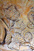 Decorative Stone Carving 2013. Grapes vines and leaves.