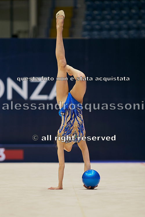 """Sofia Raffaeli during the """"1st Trofeo Citta di Monza"""" tournament. On this occasion we have seen the rhythmic gymnastics teams of Belarus and Italy challenge each other. The Bilateral period was only June 9, 2019 at the Candy Arena in Monza, Italy."""