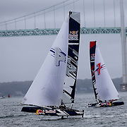 NEWPORT, RHODE ISLAND- OCTOBER 22: The Denmark team of Frederik Just Melson and Markus Oliver Nielsen, (left) and the Spanish team of Nil Das Romero and Jordi Llena Prats in action during the Red Bull Foiling Generation World Final 2016 on October 22, 2016 in Narragansett Bay, Newport, Rhode Island. (Photo by Tim Clayton/Corbis via Getty Images)