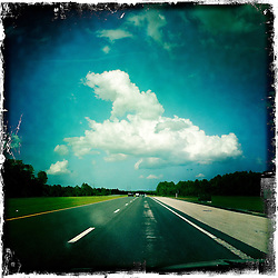 Cloud and road view, Orlando holiday 2012. Photo taken with the Hipstamatic photo application on Apple iPhone 4.