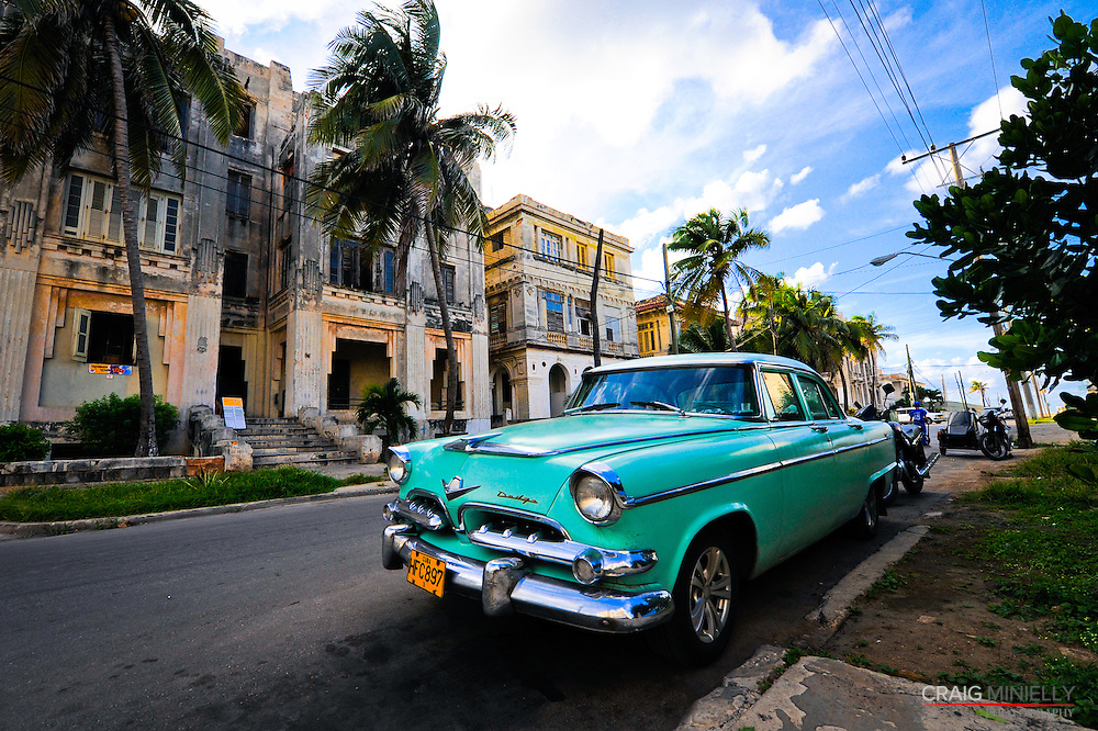 Vintage Cars & Street Life.Havana, Cuba.Vedado Residential District