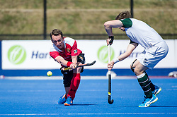 Holcombe's Dan Fox. Holcombe v Surbiton - Semi-Final - Men's Hockey League Finals, Lee Valley Hockey & Tennis Centre, London, UK on 22 April 2017. Photo: Simon Parker