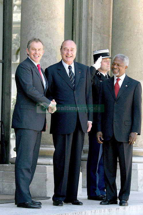 September 21, 2016 - Paris, France - KOFI ANNAN, JACQUES CHIRAC & TONY BLAIR. French President Jacques Chirac meets U.K.'s Prime Minister Tony Blair & Kofi Annan (General Secretary Of United Nations ) at the Elysee Palace. (Credit Image: © Visual via ZUMA Press)