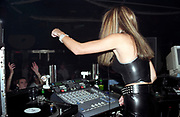 A female DJ, Roar, Evolution, Cardiff, Wales, 2001
