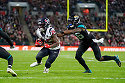 Touchdown, Houston Texans Running Back Duke Johnson (25) runs in a touchdown during the International Series match between Jacksonville Jaguars and Houston Texans at Wembley Stadium, London, England on 3 November 2019.