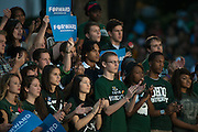 Ohio University students cheer for President Obama during a rally on College Green in Athens. Photo by Ben Siegel/ Ohio University