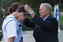 Medal ceremony in category JMB2x (Men's Junior B Double sculls) during rowing at Slovenian National Championship and farewell of Iztok Cop, on September 22, 2012 at Lake Bled, Ljubljana Slovenia. (Photo By Matic Klansek Velej / Sportida)