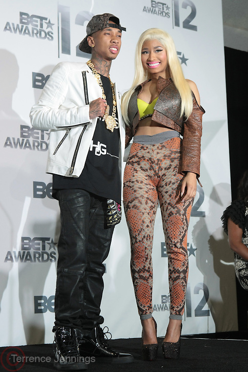 June 30, 2012-Los Angeles, CA : (L-R) Recording Artist Tyga and Recording Artist Nicki Minaj attend the 2012 BET Awards- Media Room held at the Shrine Auditorium on July 1, 2012 in Los Angeles. The BET Awards were established in 2001 by the Black Entertainment Television network to celebrate African Americans and other minorities in music, acting, sports, and other fields of entertainment over the past year. The awards are presented annually, and they are broadcast live on BET. (Photo by Terrence Jennings)