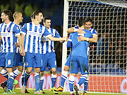 Brighton striker, Tomer Hemed (10) scores a goal and celebrates with Brighton central midfielder, Beram Kayal (7) during the Sky Bet Championship match between Brighton and Hove Albion and Brentford at the American Express Community Stadium, Brighton and Hove, England on 5 February 2016.