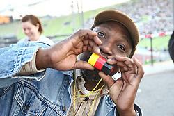 23.06.2010, Olympiapark, Muenchen, GER, FIFA Worldcup, Puplic Viewing Ghana vs Deutschland  im Bild Schwarzer Fan mit deutscher tr^te, EXPA Pictures © 2010, PhotoCredit: EXPA/ nph/  Straubmeier / SPORTIDA PHOTO AGENCY
