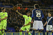 Brighton central defender, Connor Goldson (17) scores a goal and celebrates to make the score 1-1 during the Sky Bet Championship match between Birmingham City and Brighton and Hove Albion at St Andrews, Birmingham, England on 5 April 2016. Photo by Simon Davies.