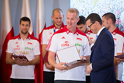 October 1, 2018 - Warsaw, Poland - Head coach Vital Heynen and Prime Minister of Poland Mateusz Morawiecki during the meeting with Poland men's national volleyball team at Chancellery of the Prime Minister in Warsaw, Poland on 1 October 2018. Poland won the gold medal after defeating Brazil in FIVB Volleyball Men's World Championship Final in Turin on 30 September. (Credit Image: © Mateusz Wlodarczyk/NurPhoto/ZUMA Press)