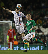 James McClean of Republic of Ireland and Aron Einar Gunnarsson of Iceland during the International Friendly match at the Aviva Stadium, Dublin<br /> Picture by Lorraine O'Sullivan/Focus Images Ltd +353 872341584<br /> 28/03/2017