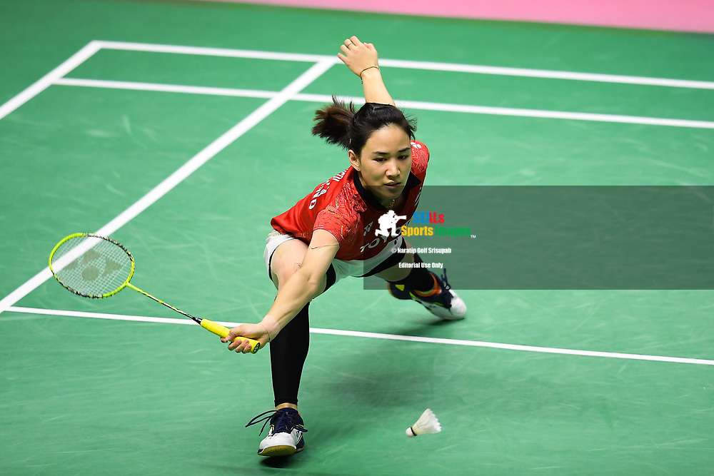 BANGKOK, THAILAND - MAY 26: Nitchaon Jindapol of Thailand in action on Court 1 during their Uber Cup Finals match against Nozomi Okuhara of Japan at the BWF Total Thomas and Uber Cup Finals 2018, Impact Arena , Bangkok, Thailand on May 26, 2018.<br /> .<br /> .<br /> .<br /> Photo by: Naratip Golf Srisupab/SEALs Sports Images<br /> <br /> .<br /> All photo must include a credit line adjacent to the content: Naratip Golf Srisupab/SEALs Sports Images