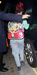 Lily Allen arrives at The Chiltern Firehouse wearing a stripy dress, Jordan trainers and carrying a see-through rucksack, holding hands with her husband Sam Cooper. Lily was all smiles as she left the London hotspot and change into some ripped jeans, also seem to be covering her wedding ring hand... UK. 12/08/2014<br />BYLINE MUST READ : JAMESY/GOTCHA IMAGES<br /><br />Copyright by © Gotcha Images Ltd. All rights reserved.<br />Usage of this image is conditional upon the acceptance <br />of Gotcha Images Ltd, terms and conditions available at<br />www.gotchaimages.com