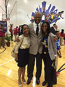 Coldwell ES Magnet Coordinator Aiesha Odutayo (right) with City Council Member Dwight Boykins and his aide Jessica Kemp.