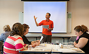 Mark Orbe describes a simulation activity during the Summer Institute of Diversity Education on July 11, 2012 in Athens, Ohio.