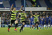 Huddersfield Town  players celebrate winning on penalties  during the EFL Sky Bet Championship play off second leg match between Sheffield Wednesday and Huddersfield Town at Hillsborough, Sheffield, England on 17 May 2017. Photo by John Potts.