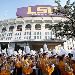 September 10, 2011; Baton Rouge, LA, USA;  The LSU Tigers band marches outside prior to kickoff of a game against the Northwestern State Demons at Tiger Stadium.  LSU defeated Northwestern State 49-3. Mandatory Credit: Derick E. Hingle-US PRESSWIRE
