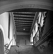 Interior of building with staircase.