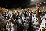 AUSTIN, TX - SEPTEMBER 19:  The California Golden Bears celebrate after defeating the Texas Longhorns on September 19, 2015 at Darrell K Royal-Texas Memorial Stadium in Austin, Texas.  (Photo by Cooper Neill/Getty Images) *** Local Caption ***