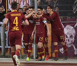 ROME, May 13, 2019  Roma's Alessandro Florenzi (3rd R) celebrates his goal with his teammates during a Serie A soccer match between Roma and FC Juventus in Rome, Italy, May 12 , 2019. Roma won 2-0. (Credit Image: © Xinhua via ZUMA Wire)
