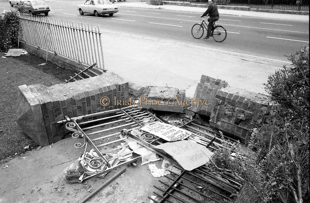 H-Block Protest To British Embassy.  (N86)..1981..18.07.1981..07.18.1981..18th July 1981..A protest march to demonstrate against the H-Blocks in Northern Ireland was held today in Dublin. After the death of several hunger strikers in the H-Blocks feelings were running very high. The protest march was to proceed to the British Embassy in Ballsbridge...Image shows some of the aftermath of the riot which developed after the H-Block protest at Ballsbridge, Dublin..