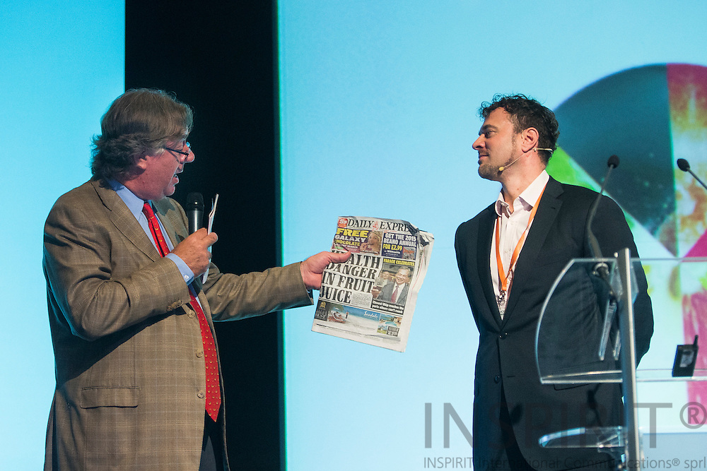 Andrew J Biles, AIJN President, UK, and Thorsten Hartmann , Director of Consulting <br /> Canadean, UK, at the Juice Summit in Antwerp 15 - 16 October 2014. Photo: Erik Luntang