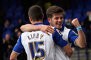 Tranmere Rovers' Matthew Kennedy (r) celebrates with the scorer of Tranmere's 3rd goal Jake Kirby. Skybet football league 1match, Tranmere Rovers v Coventry city at Prenton Park in Birkenhead, England on Saturday 22nd Feb 2014.<br /> pic by Chris Stading, Andrew Orchard sports photography.