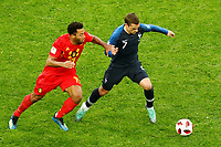 SAINT PETERSBURG, RUSSIA - JULY 10: Antoine Griezmann (R) of France national team and Moussa Dembele of Belgium national team vie for the ball during the 2018 FIFA World Cup Russia Semi Final match between France and Belgium at Saint Petersburg Stadium on July 10, 2018 in Saint Petersburg, Russia. MB Media
