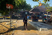Tsunami warning sign - images taken, on February 2017 in Seminak, Bali, Indonesia