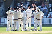 Wicket - Craig Overton of Somerset celebrates taking the wicket of Tom Bailey of Lancashire during the Specsavers County Champ Div 1 match between Somerset County Cricket Club and Lancashire County Cricket Club at the Cooper Associates County Ground, Taunton, United Kingdom on 5 September 2018.