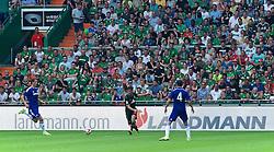 03.08.2014, Weserstadion, Bremen, GER, Testspiel, SV Werder Bremen vs FC Chelsea, im Bild Santiago Garcia (SV Werder Bremen #2) beim Pass, im Hintergrund die Bandenwerbung von Landmann, dem neuen Sponsor des SV Werder Bremen // during a friedly match between SV Werder Bremen and Chelsea FC at the Weserstadion in Bremen, Germany on 2014/08/03. EXPA Pictures © 2014, PhotoCredit: EXPA/ Andreas Gumz<br /> <br /> *****ATTENTION - OUT of GER*****