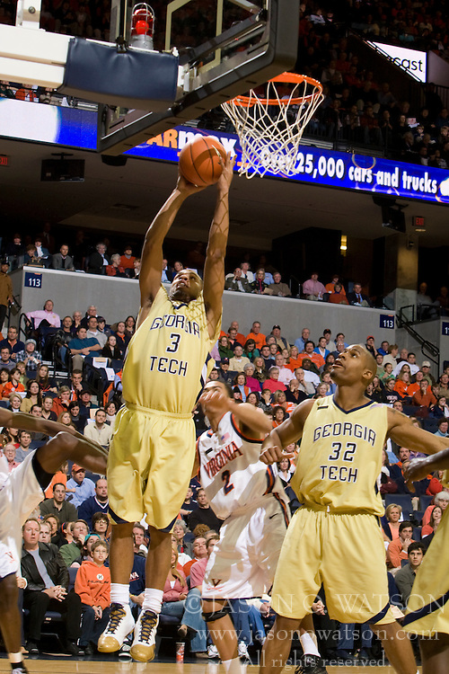 Georgia Tech guard Maurice Miller (3) shoots against UVA.  The Virginia Cavaliers men's basketball team fell to the Georgia Tech Yellow Jackets 92-82 in overtime at the John Paul Jones Arena in Charlottesville, VA on January 27, 2008.