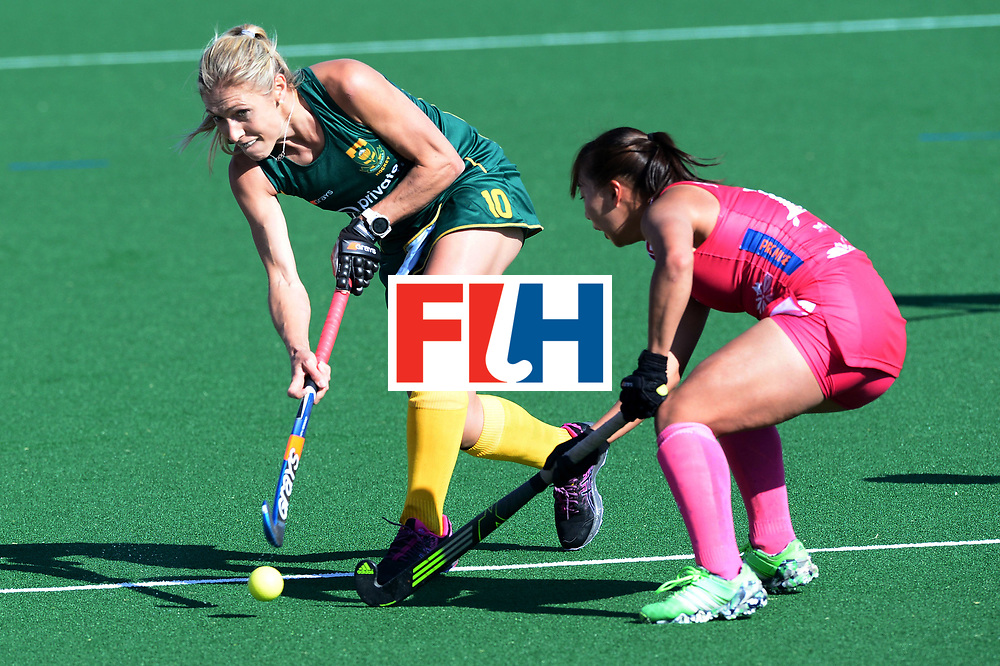 JOHANNESBURG, SOUTH AFRICA - JULY 22: Shelley Jones of South Africa and Yukari Mano of Japan during day 8 of the FIH Hockey World League Women's Semi Finals 5th-6th place match between Japan and South Africa at Wits University on July 22, 2017 in Johannesburg, South Africa. (Photo by Getty Images/Getty Images)