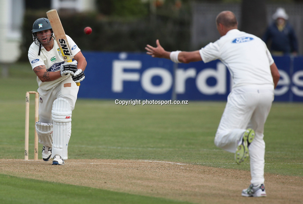 Stag's Doug Bracewell plays a shot in the Plunket Shield cricket match between the Central Districts Stags and the Auckland Aces at Nelson Park, Napier,  New Zealand. Monday, 05 November, 2012. Photo: John Cowpland / photosport.co.nz